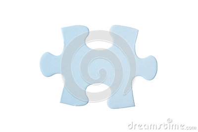 Close up of one blue puzzle piece