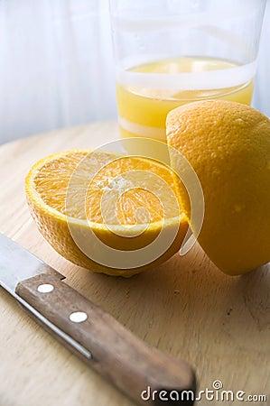 Close up orange cut