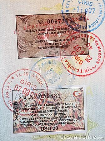 Close-up page of passport