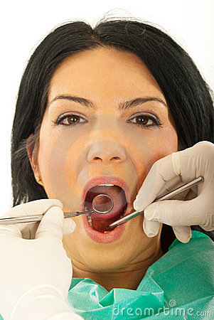 Close up of patient woman at dentist