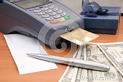 Close up Payment machine