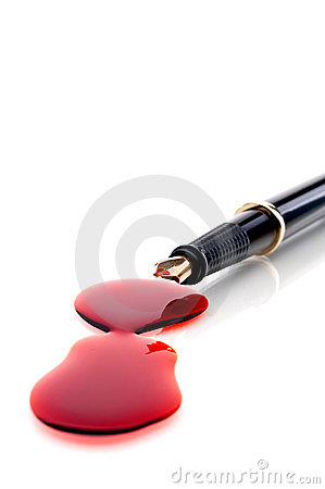 Close up of a pen and blood