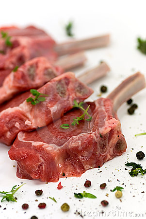 Close up picture of a raw lamb chop - fillet