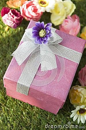Close up pink gift box
