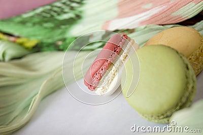 Close up pink macaron
