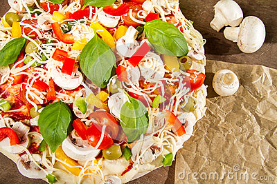 Close-up of pizzas made ​​with vegetables