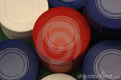 Close-up of plastic gambling chips