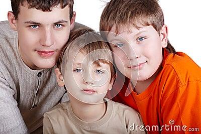 Close-up poprtrait of three boys