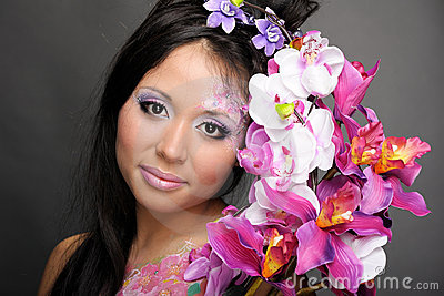 Close-up Portrait Of Asian Girl With Flowers Royalty Free Stock Photography - Image: 18976117
