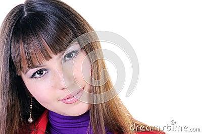 Close-up portrait of beautiful brunette.