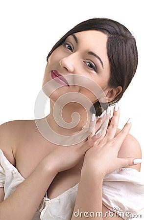 Close-up portrait of a beautiful woman.