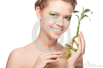 Girl with green bamboo