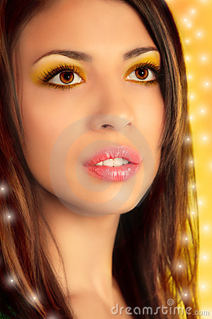 Close-up portrait of beauty girl, collage