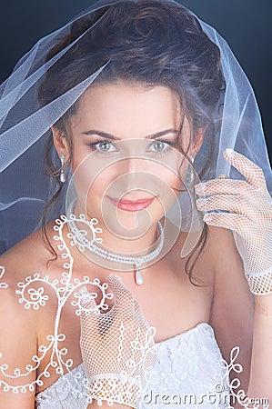 Close up portrait of the bride