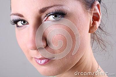 Close-up portrait of brunette with make up