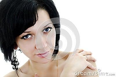 Close-up portrait of brunette woman
