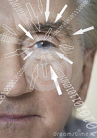 Close-up portrait of businessman with binary digits and arrow signs moving towards his eye