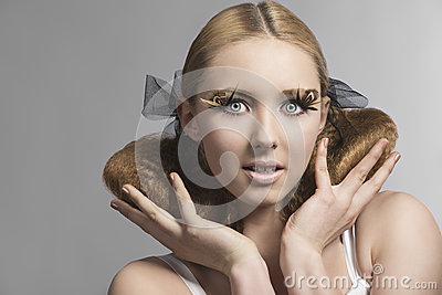 Close-up portrait of girl with cute make-up