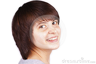 Close up portrait of happy teenager isolated