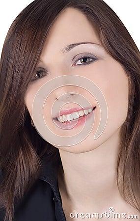 Close-up portrait of lovely brunette