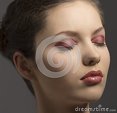 Close-up portrait of make-up girl