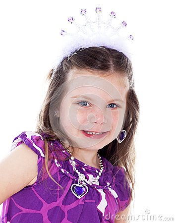 Close up portrait of pretty little girl dressed up