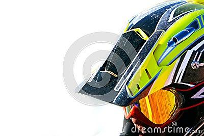 Close up portrait of racer in helmet