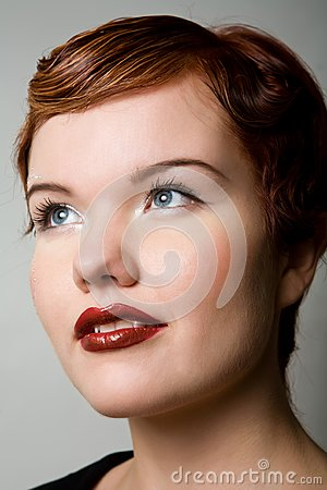 Close up portrait of red-head woman