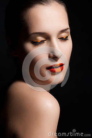 Close-up portrait of sexy woman model with glamour make-up