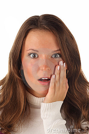 Close up portrait of surprised girl (isolated)