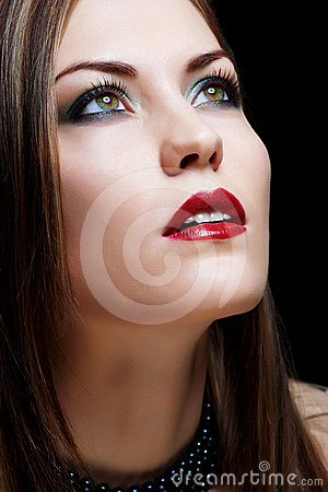 Close-up portrait  woman with red lips