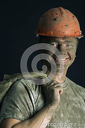 Close-up portrait worker man