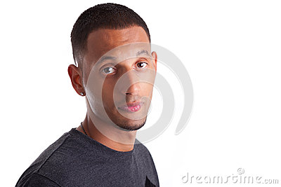 Close up portrait of a young african american man