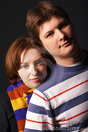 Close-up portrait of a young couple
