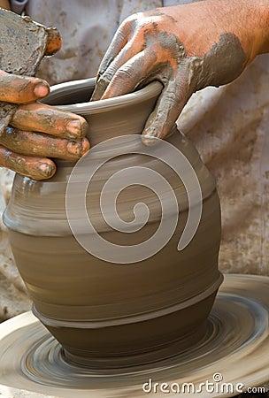 Close-up of potter
