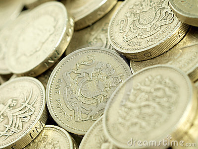 Close-up of Pound Coins