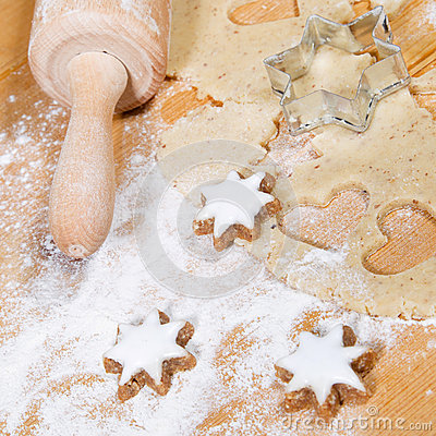 Close up of preparing gingerbread cookies for christmas