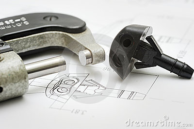 Close up of product drawing and measurement tool