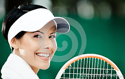 Close up of professional female tennis player