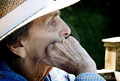 Close-up Profile of Old Woman