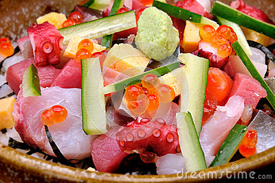 Close up Raw seafood mix with zucchini