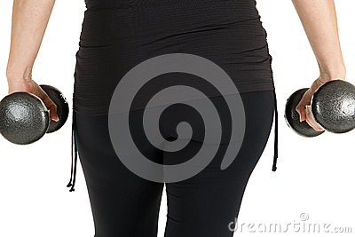 Close up rear view of a woman model working with weights