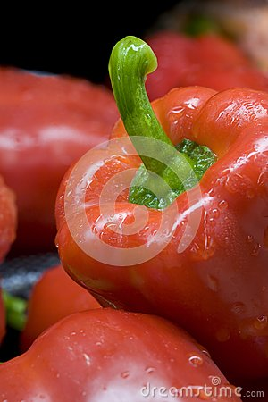 Close up of a red bell pepper.
