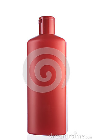 Close up of a red bottle