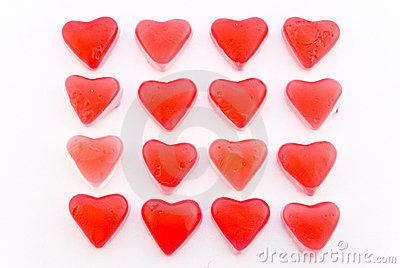 Close up red candy hearts in square