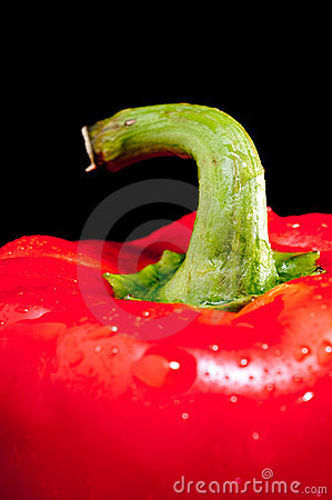 Close up of a red pepper on black