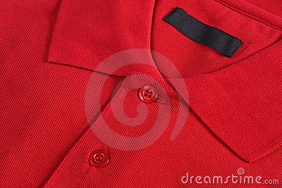 Close up of a red polo-shirt