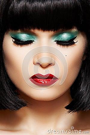 Close-up retro glamour face. Disco glitter make-up