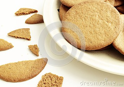 Closeup on a plate with round gingerbread cookies Stock Photo
