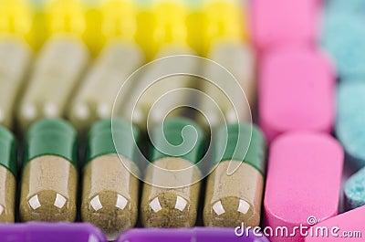 Close up row of capsules